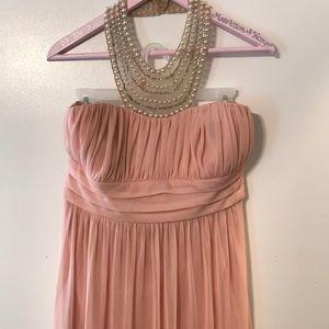Blush halter bridesmaid/prom dress